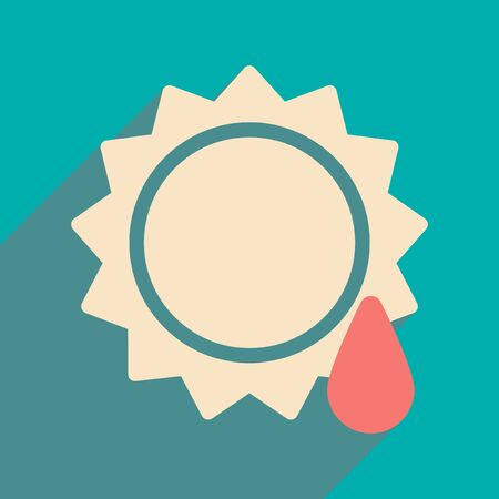 sun drop: Flat with shadow icon and mobile application sun drop