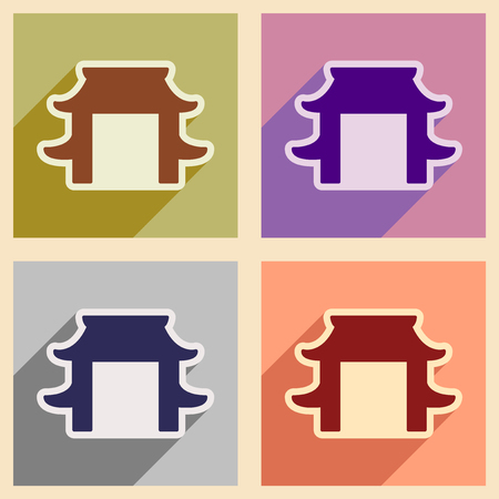 entrance arbor: Set icons of Japanese arch and realistic icon on purple