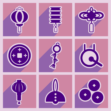 attributes: Stylish assembly of Japanese attributes and realistic icon on purple