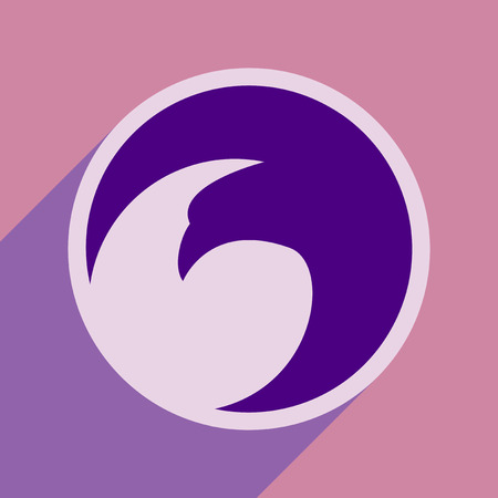 eagle flying:  flying eagle and realistic icon on purple