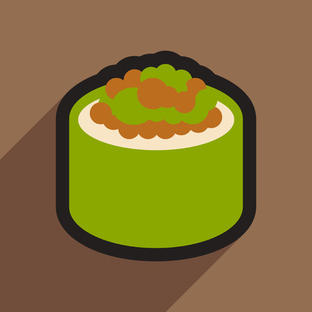 caviar: Flat with shadow icon sushi with caviar