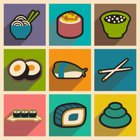 egg roll: Flat with shadow concept Japanese food on stylish backgrounds
