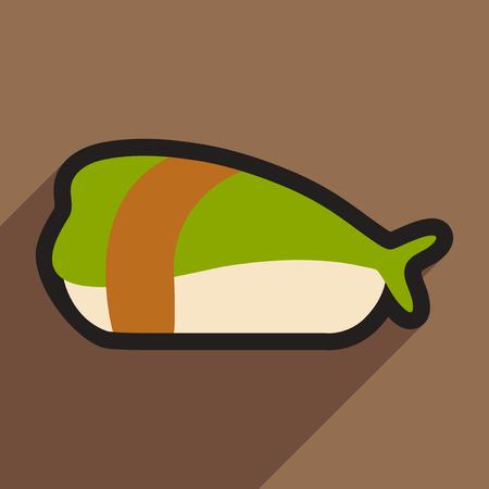 sashimi: Flat with shadow icon Sashimi with shrimp on stylish background Illustration