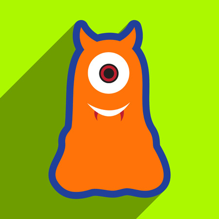 cyclops: Flat with shadow Icon cyclops monster on the bright background