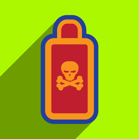 mortal danger: Flat with shadow Icon of poison on a colored background Illustration