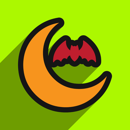 early in the evening: Flat with shadow Icon  moon and bat on colored background Illustration