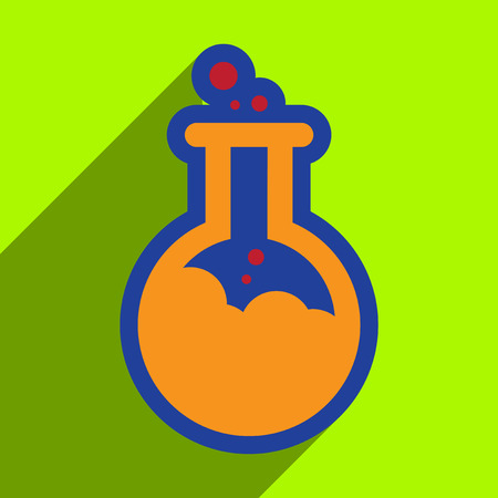 poison: Flat with shadow Icon vial of poison on colored background Illustration