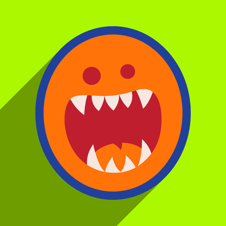 toothy: Flat with shadow Icon toothy monster bright background Illustration