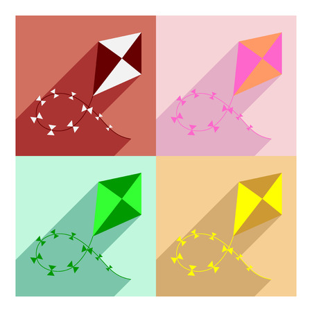 customization: Flat with shadow concept and mobile application kite flying Illustration