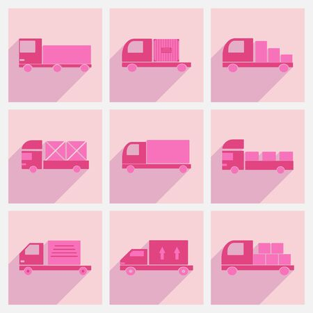 car delivery: Flat with shadow concept and mobile application car delivery trucks