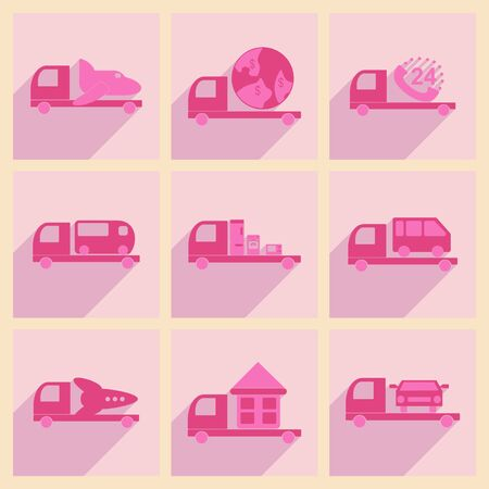 customization: Flat with shadow concept and mobile application logistics delivery truck