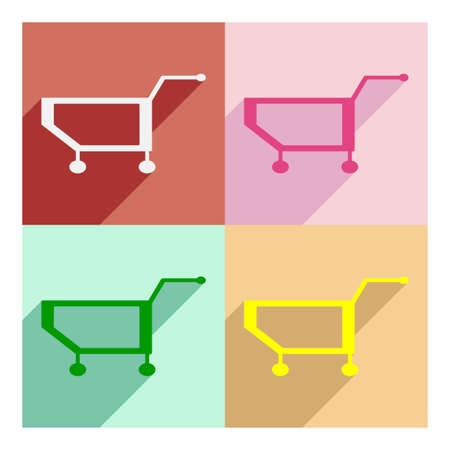 customization: Flat with shadow concept and mobile application cart Illustration
