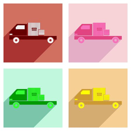 customization: Flat with shadow concept and mobile application car freight logistics