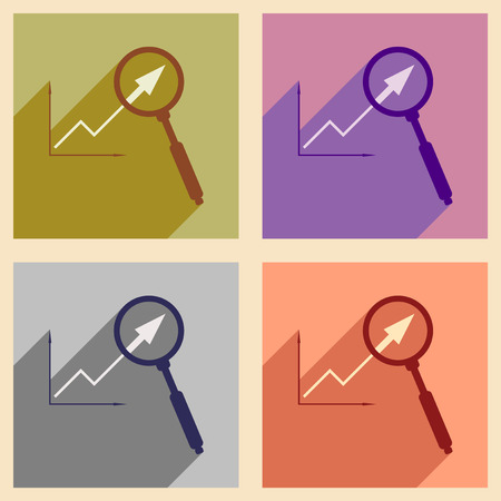 Flat with shadow icon concept Economic graph and zoom
