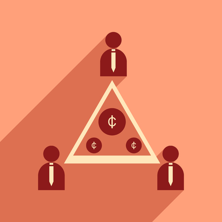 charges: Flat with shadow icon group of people coins Illustration