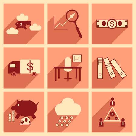economic: Flat with shadow concept Stylish economic icons