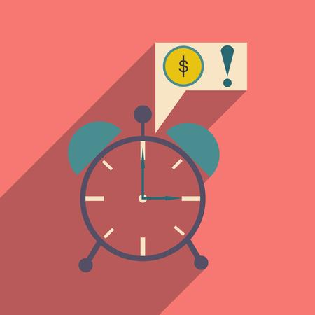 annuity: Modern flat icon with shadow alarm clock