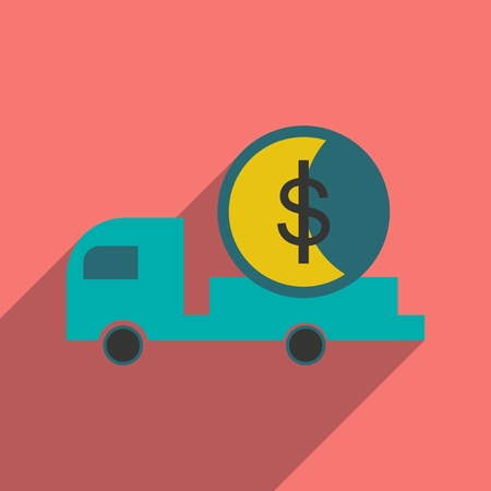 increment: Modern flat icon with shadow car and money