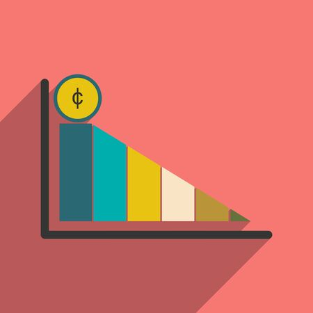 stock price: Modern flat icon with shadow economic graph Illustration