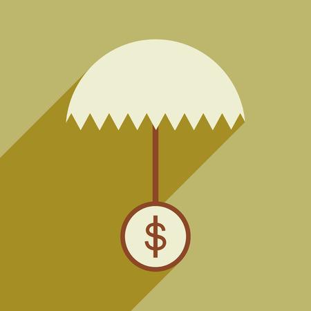 sac: Flat design modern vector illustration icon umbrella dollar