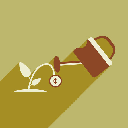 sprinkling: Flat design modern vector illustration icon Money Tree and Sprinkle Illustration