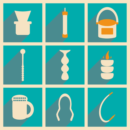 narghil�: Flat with shadow concept and mobile application hookah icons