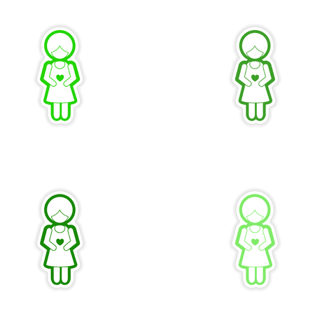 expectant: Set paper stickers on white background expectant mother