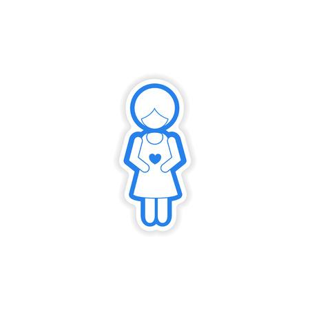bekleyen: paper sticker on white background expectant mother Çizim