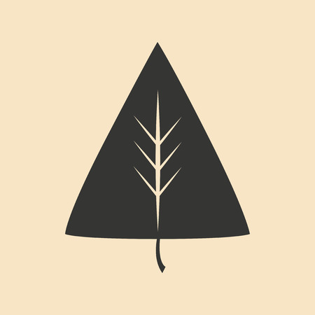 personal growth: Flat in black and white mobile application leaf icon Illustration