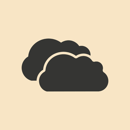 black shadow: Flat in black and white mobile application clouds Illustration