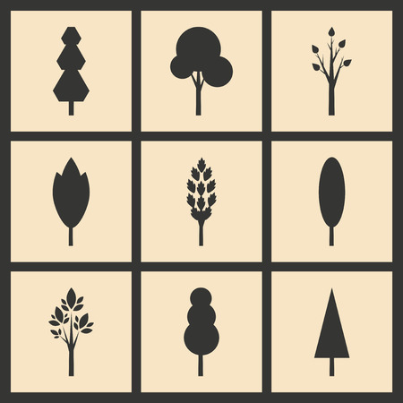 mobile application: Flat in black and white concept mobile application trees silhouette