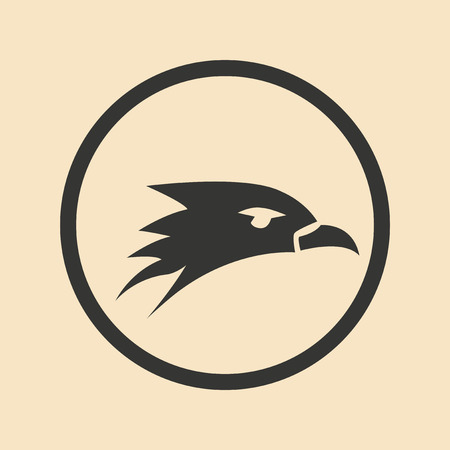 Flat in black and white mobile application eagle head
