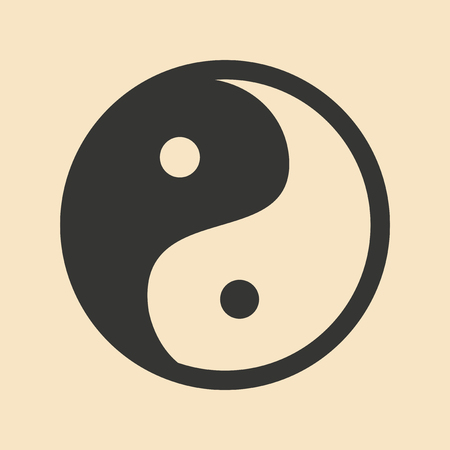 yang style: Flat in black and white mobile application yin Yang
