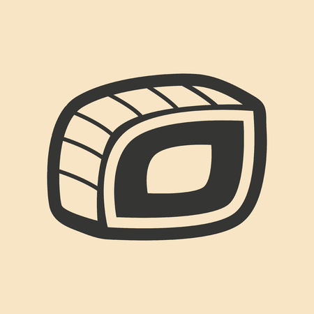sushi roll: Flat in black and white mobile application sushi roll