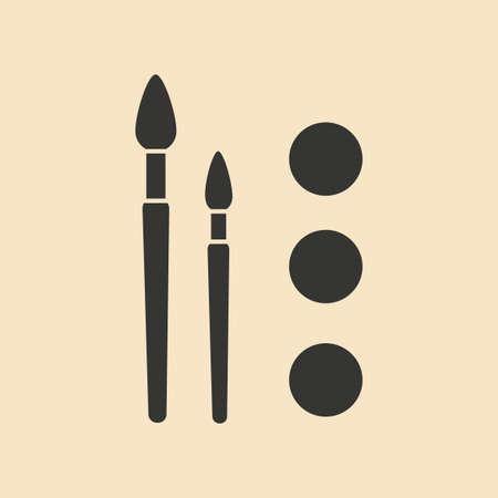 flat brushes: Flat in black and white mobile application paint brushes Illustration