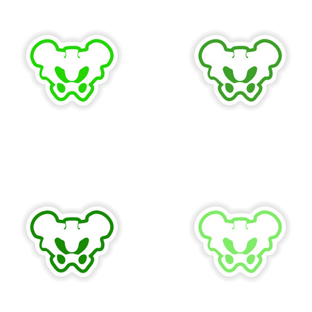 axial: Set paper stickers on white background pelvic bones Illustration