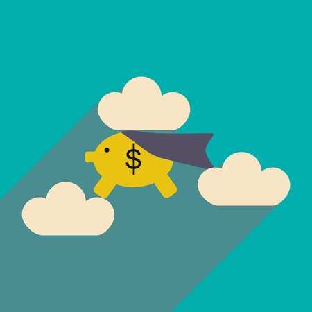 airborne: Flat with shadow icon piggy bank in the clouds