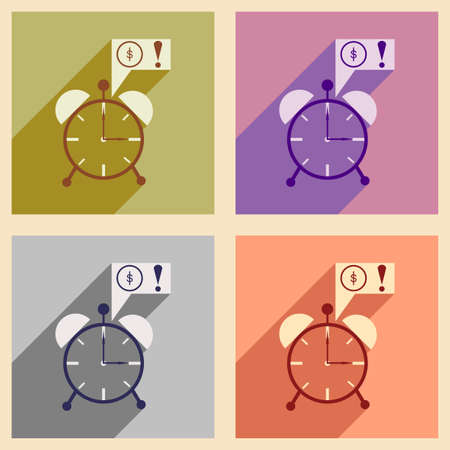 annuity: Modern collection flat icons with shadow alarm clock and money