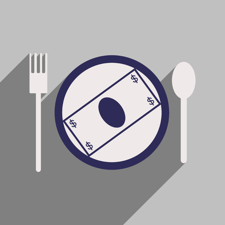 besiege: Modern flat icon with shadow bill on the plate