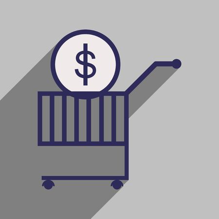 augmentation: Modern flat icon with shadow coin in the trolley