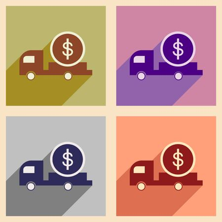 repayment: Modern collection flat icons with shadow car and money