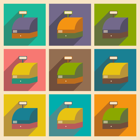 accountancy: Modern flat icons vector collection with shadow cash registers economy Illustration