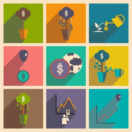business change: Modern flat icons vector collection with shadow economy money income