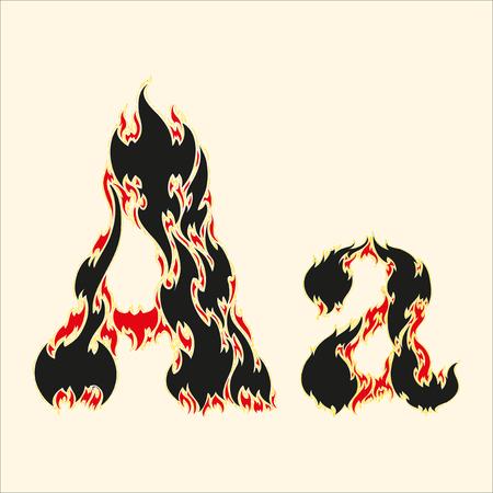 fiery: Fiery font. Letter A Illustration on white background Illustration