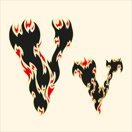 fiery font: Fiery font Letter V Illustration on white background