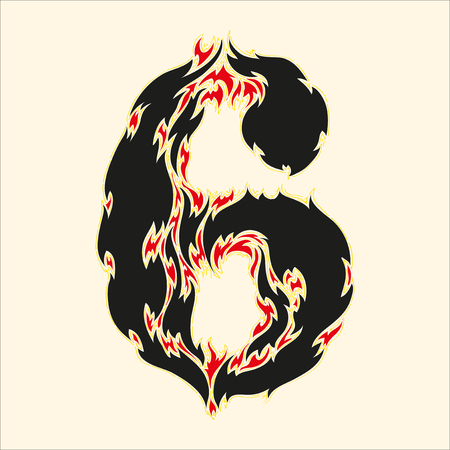 fiery font: Fiery font number 6 Illustration on white background