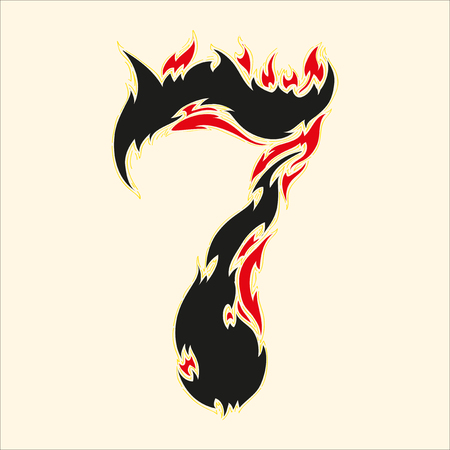 fiery font: Fiery font number 7 Illustration on white background