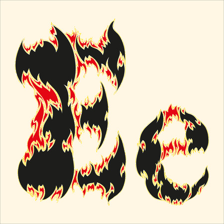 fiery font: Fiery font Letter E Illustration on white background Illustration