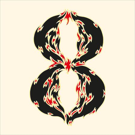flamboyant: Fiery font number 8 Illustration on white background