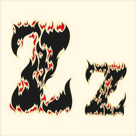 fiery font: Fiery font Letter Z Illustration on white background